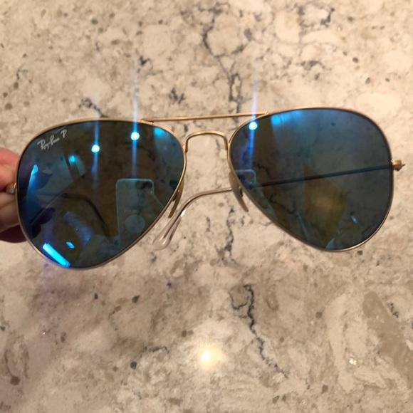 Barely worn Ray Ban Aviator Flash Blue Sunglasses